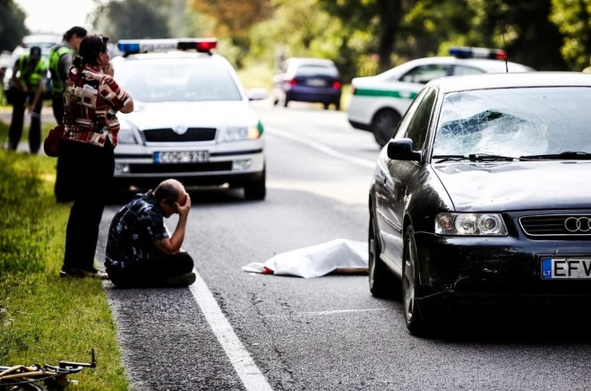 Lithuanian man in shock after accidentally hitting and killing an eight year old.
